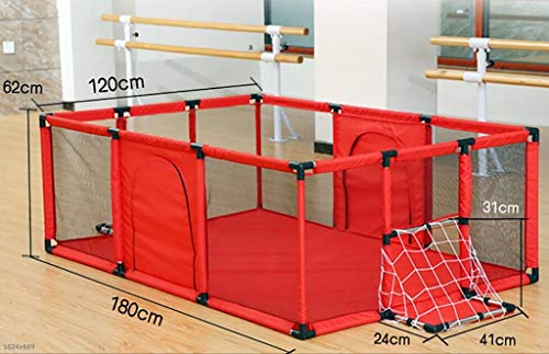Baby Playpens Red Extra Large with Soft Spong Pad and 200 Ocean Balls, Baby Kids Play Pens 4 Panel Kids Activity Center Room for Infant, Indoor Outdoor New Pen (Size : 180x120cm) by Baby Playpens (Image #1)