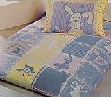 Baby Kinder Biber Winter Bettwäsche 100 x 135 + 40x60 cm, blau, Hase, 100% Baumwolle, für Kinderbett