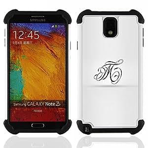 """SAMSUNG Galaxy Note 3 III / N9000 / N9005 - 3 en 1 impreso colorido de Altas Prestaciones PC Funda chaqueta Negro cubierta gel silicona suave (Ink Tattoo Arte de la caligrafía T M Cartas"""")"""
