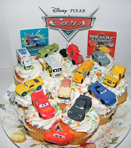 Disney Cars Movie Deluxe Cake Toppers Cupcake Decorations Set of 14 with Plastic Cars, a Sticker Sheet and ToyRing Featuring Lightning McQueen, Nash, Dr. Damage and More! by cars
