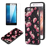 Flower Design Case for Huawei P10 Plus with Screen Protector, OYIME Vintage Floral Pattern Hard Plastic Back + Soft Silicone Glitter Rhinestones Frame 2 in 1 New Hybrid Black Cover Thin Slim Fit Protection Shockproof Scratch Resistant Shiny Bling Bumper - Wild Rose
