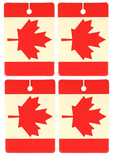 Set of Four Canadian Flag Air Fresheners, Vertical, Raspberry -