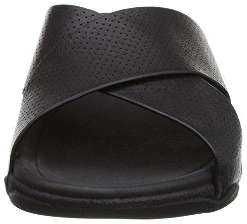 Surfer black Mens Fitflop Slide Leather Sandalias Perf Hombre Black d4xqf