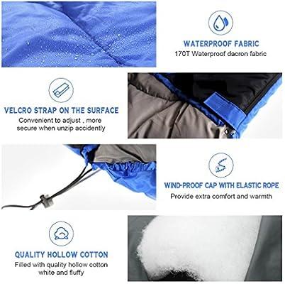 TataYang Umschlag Schlafsack 3-4 Saison Wasserdichte Camping Schlafsack Leichte tragbare Warm mit Tragetasche
