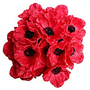 12 Stems Artificial Poppies Real Touch PU Fake Latex Flowers for Wedding Holiday Bridal Bouquet Home Party Decor (Red) 69