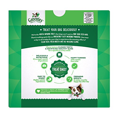 Greenies Dental Dog Treats, Petite, Original Flavor (60 Treats, 36 Ounces) Greenies Dog Dental Chews: For Clean Teeth and Healthy Gums