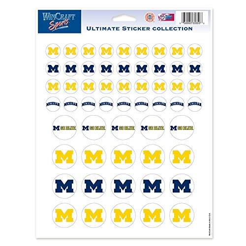 (WinCraft NCAA University of Michigan Vinyl Sticker Sheet, 8.5