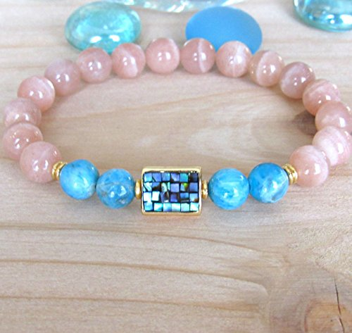 Apatite and Moonstone bracelet with Abalone Guru bead, white and peach moonstone, High quality beaded bracelet, Inner Growth and strengh