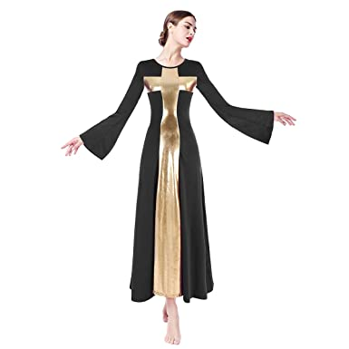 bb4d9988f66 Women s Long Sleeve Liturgical Praise Lyrical Dance Dress Loose Fit Full  Length Round Neck Ruffled Maxi