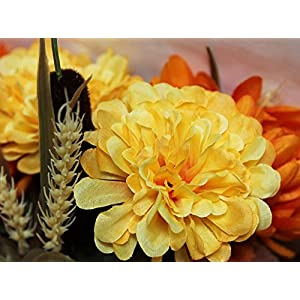 Admired By Nature 18 Stems Artificial Sunflower, Mum And Zinna Mixed Flowers Bush For Home Office, Wedding, Restaurant Decoration Arrangement, Gold/Orange Mix 4