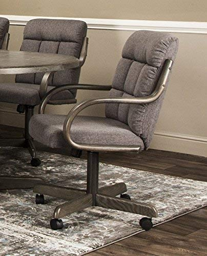 Caster Chair Company Garrett Swivel Tilt Caster Arm Chair in Smoke Tweed Fabric (Kitchen Rollers Chairs On)
