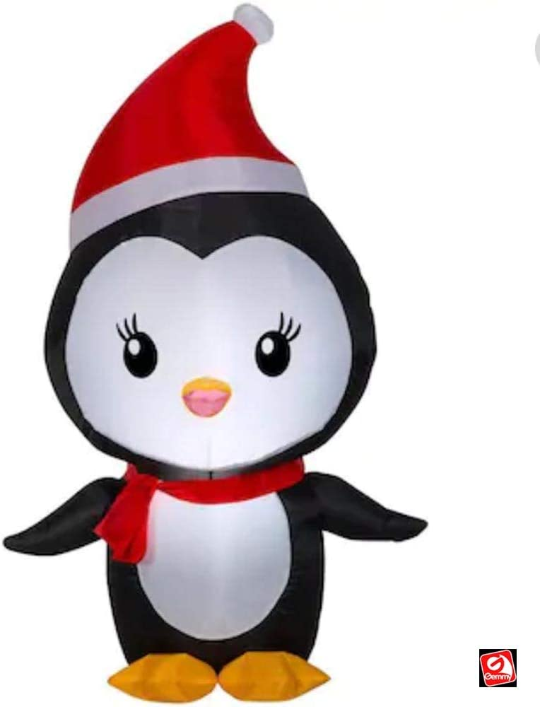 Air Characters 4 Gemmy Airblown Inflatable Christmas Penguin W Santa Hat Yard Decoration 114843 Outdoor Holiday Decorations Inflatable Yard Decorations