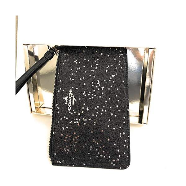 Coach Boxed Crossgrain Leather Top Zip Star Glitter Wristlet Clutch F38641 Small