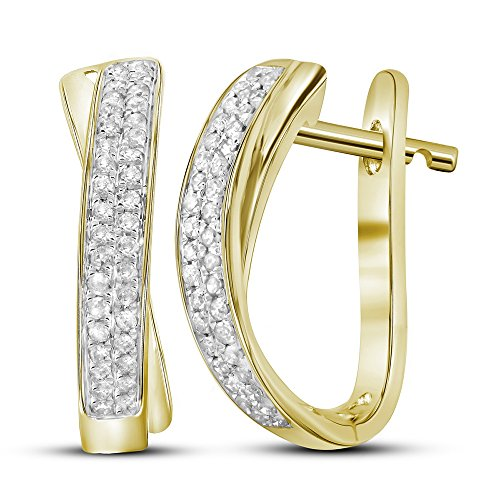 Roy Rose Jewelry 10K Yellow Gold Womens Round Pave-set Diamond Hoop Earrings 1/6-Carat tw