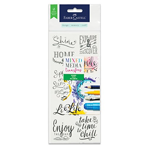 - Faber-Castell Mixed Media Transfers - 20 Hand Illustrated Rub-On Transfer Designs (Phrases)