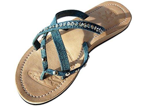 Seestern Azul Mujer Sandalias Cuero Flip Flop Sportswear SA1720 FBA de 7q7rT