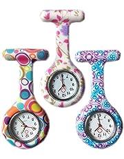 Boolavard® TM 3pcs Fiori silicone vigilanza dell'infermiera Medico Paramedico tunica Spilla Fob Medical Watch, Confezione da 3