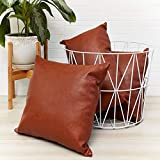 Brown Leather Throw Pillow Covers - Set of 3 Faux Leather Throw Pillows - Decorative Accent Pillow Covers - Sofa, Den, Bedroom, Sunroom, Living Room, Decor - Modern, Bohemian, Farmhouse Pillow Covers