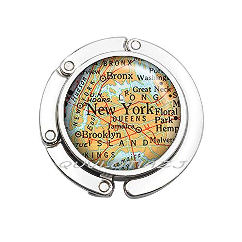 Purse HookNew York map Purse Hook, New York map Bag Hook, Queens map Brooklyn map Bronze map, New York City map Jewelry New York Purse Hook,ot13 (A1)