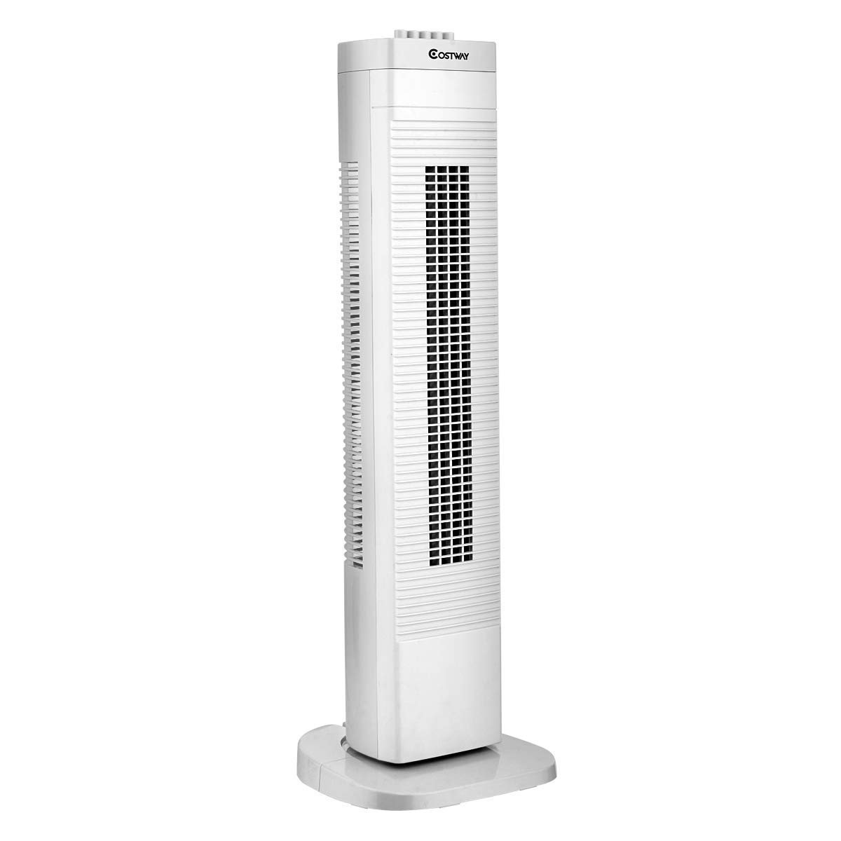 COSTWAY Tower Fan, 30-Inch Quiet Portable Oscillating Fan, 3 Speed Control, Compact and Space Saving, Oscillating Tower Fan for Bedrooms, Living Rooms, Kitchen, Offices, White by COSTWAY