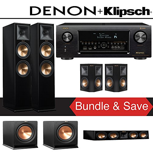 Klipsch RP-280F 5.2-Ch Reference Premiere Home Theater System (Piano Black) with Denon AVR-X4400H 9.2-Channel 4K Network AV Receiver