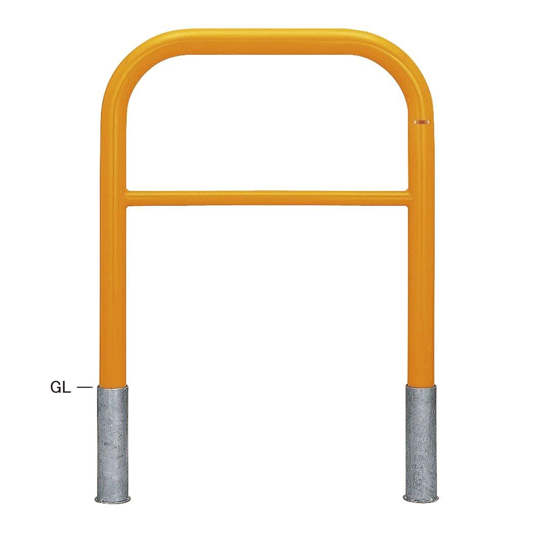 帝金バリカー 車止め 横型 スチール製 φ60.5 GLH=800 W=750 脱着式 鍵蓋なし 横桟つき Y82-C3 黄色 B017CRZ6U2 20834