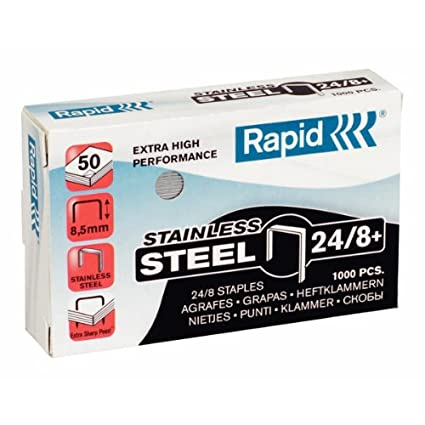 Rapid 24858300 - Caja de 1000 grapas (acero inoxidable, 24/8 mm)