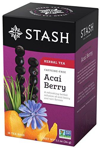 Stash Tea Acai Berry Herbal Tea 18 Count Tea Bags in Foil (Pack of 6) Individual Herbal Tea Bags for Use in Teapots Mugs or Cups, Brew Hot Tea or Iced Tea