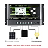 PowMr PWM 10A solar charge controller 12V 24V, Solar Panel Battery Regulator Charge Controller Dual USB Backlight LCD Display (10A)