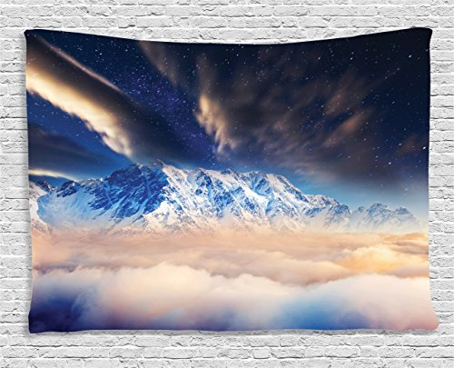 Galaxy Tapestry Space Decorations by Ambesonne, Milky Way over Snowy Mountain Peaks High Up Magical Vision with Dusk