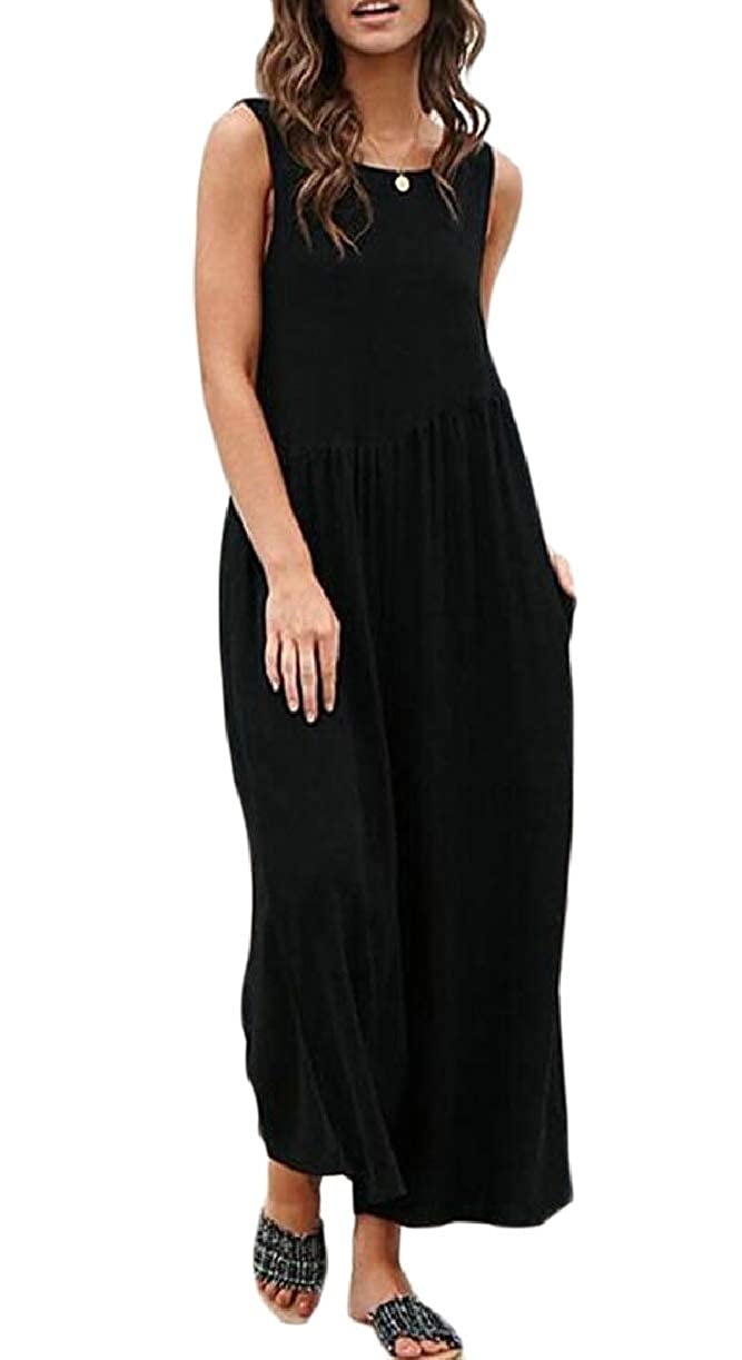 CBTLVSN Womens Casual Sleeveless Chiffon Solid Color Loose Tank Jumpsuit