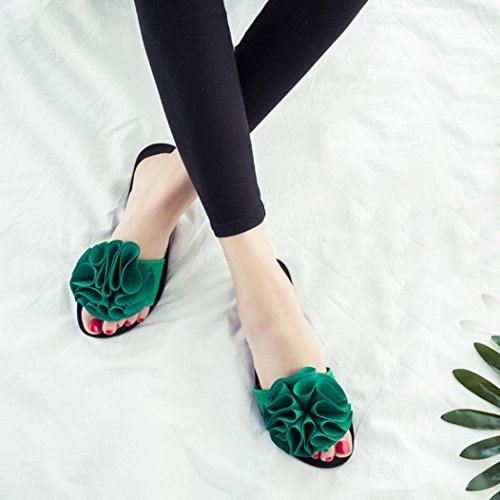 Hunpta Sommerstrand Frauen Schuhe Blume flachen Sandalen rutschfeste Hausschuhe Sandale