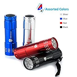 ORIENTOOLS 9 LED / 35 lumens Aluminum Mini Flashlight Set (4-Pack) with Lanyard, and Assorted Colors, perfect for Camping, Hiking, Hunting, Backpacking, Fishing and Emergency usage etc.