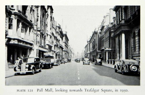 1951 Print Pall Mall Street Westminster London England Trafalgar Traffic Cars - Original Halftone - Westminster In Mall
