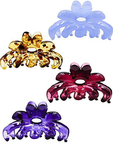 Prettyou Hair Clips 2.75 Inches Banana No-Slip Effortless Colorful Small Size Flower Claws Barrettes for Women, Pack of 4