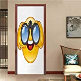 Emoji Modern Art Door Sticker Smiley Face with a Telescope Binoculars Glasses Watching Outside Cartoon Print Environmentally Friendly Decoration Yellow and Blue W32 x H80 INCH