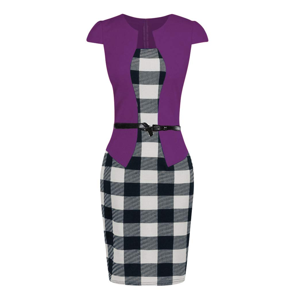 Shortsleeve,L /… Birdfly Office Womens Plaid Patchwork Pencil Skirts Formal Working Dress with Three Quarter Sleeve Plus Size 2L 3L Black 92
