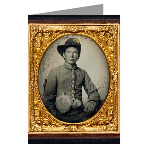 single-vintage-greeting-cards-of-young-southern-civil-war-soldier-in-shell-jacket-hardee-hat-with-mo