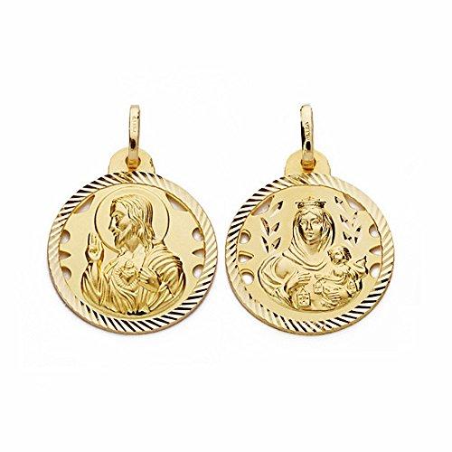 Médaille pendentif 20mm or 18k Scapulaire Vierge Carmen Coeur de Jésus [AA2475]