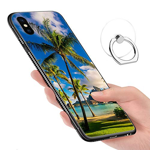 iPhone X Case,iPhone Xs Cases Tempered Glass Pattern Painted A Village of Palm Trees Under The Blue Sky Bumper Cover for iPhone X/XS