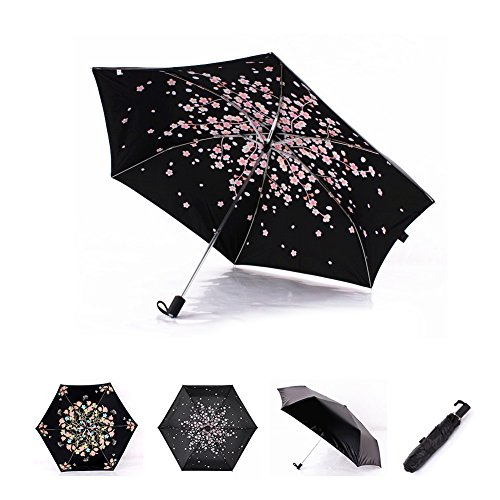 Cherry Blossom Foldable Windproof Travel Umbrella, Fast Drying/waterproof 8 Ribs Reinforced Windproof, , portable and durable for Business. (Plum Pink) by Tomato99 (Image #9)