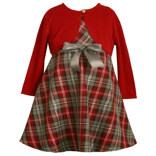 Bonnie Jean Girls 2T-4T Red Gray Bow Front Metallid Plaid Dress/Jacket Set