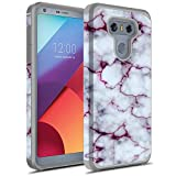 LG G6 Case, Rosebono Hybrid Dual Layer Shockproof Hard Cover Graphic Fashion Cute Colorful Silicone Skin Case for LG G6 - Pluple Marble