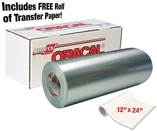 "Price comparison product image ORACAL 351 Brushed Silver Metallic Chrome Adhesive Vinyl Wrap 12"" x 24"" Roll for Silhouette,  Cameo & Cricut Including 12"" x 24"" VViViD Clear Transfer Paper Roll brand: ORACAL (3 Roll Pack)"