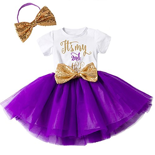 - FYMNSI Baby Girls It's My 2nd Birthday Cake Smash Shiny Printed Sequin Bowknot Tutu Princess Dress Purple