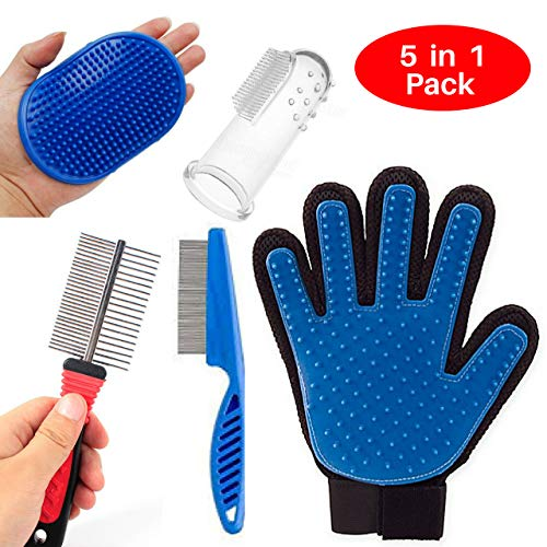 Pet Deshedding Massage Five Finger Grooming Gloves, Palm Rubber Bath Brush, Metal Flea Comb, Double Side Stainless Steel Comb, Dog Finger Toothbrush [5 in 1] - Perfect Pets Hair Removal Kit Dogs Cat
