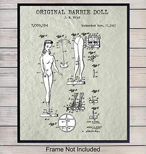 (Barbie Doll Patent Art Print - Vintage Mattel Wall Art Poster - Chic Rustic Home Decor for Bedroom, Girls or Kids Room, Bathroom- Gift for Women - 8x10 Photo Unframed)