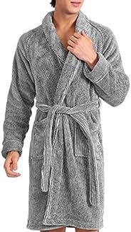 DAVID ARCHY Men's Hooded Fleece Plush Soft Shu Velveteen Robe Full Length Long Lounge Robe Lounge