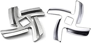 Millie (2 Pack) 5# Knife Meat Grinder Blade,Food Meat Grinder Blade Stainless Steel Knife Cutter Compatible for Size 5 Meat Grinder Stand Mixers Accessories Replacement
