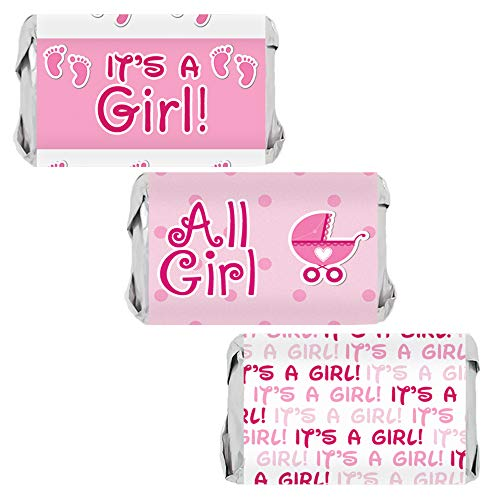 It's a Girl Baby Shower Mini Candy Bar Wrappers | Pink Footprint Theme | 45 Stickers
